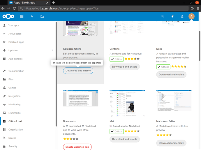 Download and enable the Collabora Online plugin