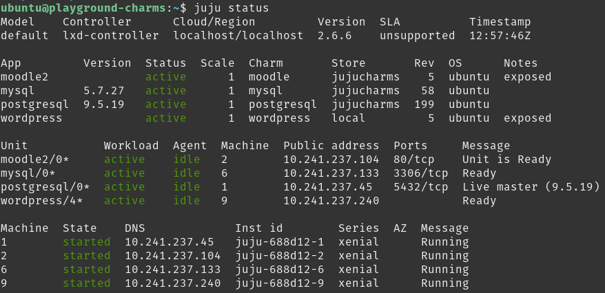 Output from juju status